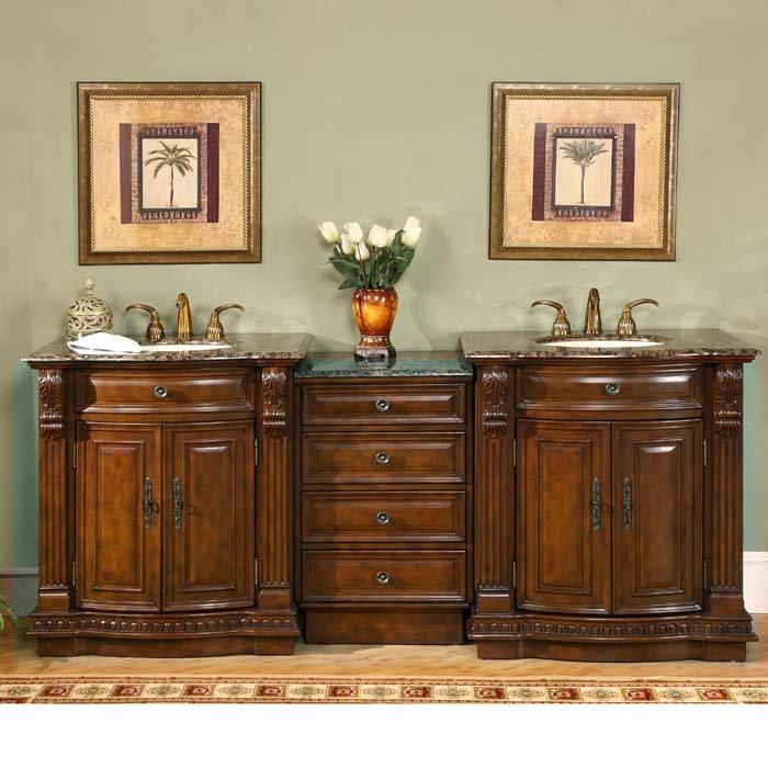 double bathroom sink vanity cabinet granite top cherry finish 0206