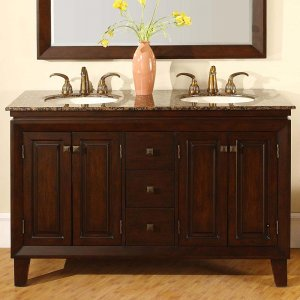 "55"" Jessica - Double Sink Cabinet Bathroom Vanity (English Chestnut Finish) 0208"
