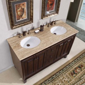 "55"" Jessica - Travertine Stone Top White Sink Bathroom Double Vanity Cabinet 0208"