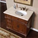 "36"" Caroline - Marble Right Sink Bathroom Vanity Cabinet (Vermont Maple Finish) 0210"