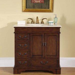 "36"" Amber - Marble Top Single Bathroom Sink Vanity English Chestnut Cabinet 0212"