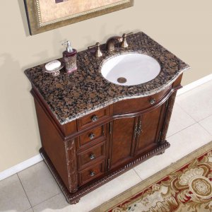 36 Victoria Stone Top Off Center Single Bathroom Vanity Cabinet Right Sink 0213