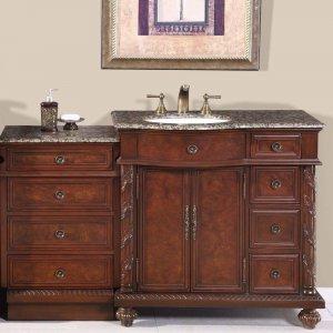 "55.5"" Victoria - Baltic Brown Stone Top Left Sink Bathroom Vanity Cabinet 0213"