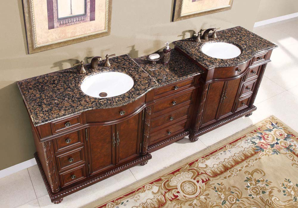 Victoria double bathroom vanity sink cabinet baltic brown granite top 0213 - Double bathroom vanities granite tops ...