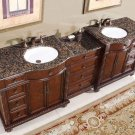"90.25"" Victoria - Double Bathroom Vanity Sink Cabinet Baltic Brown Granite Top 0213"