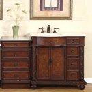 "55.5"" Victoria - Left Sink Bathroom Single Vanity Marble Top Drawer Bank Cabinet 0213"