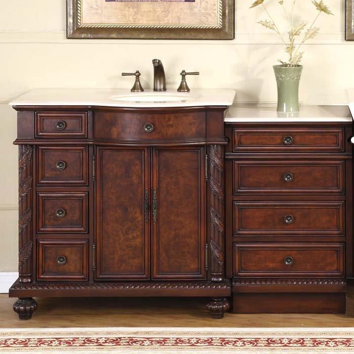 55 5 Victoria Marble Top Bathroom Vanity Off Center Cabinet Right Sink 0213