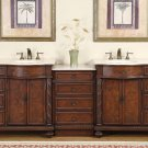 "90.25"" Victoria - Double Bathroom Sink Vanity Cabinet (English Chestnut Finish) 0213"