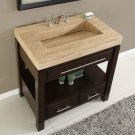 "36"" Sierra - Travertine Top Single Sink Bathroom Vanity (Dark Walnut Finish) 0218"