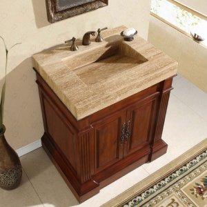 "33"" Stanton - Unique Travertine Stone Sink Top Bathroom Single Vanity Cabinet 0219"