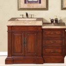 "51"" Stanton - Bathroom Stone Top Sink Single Vanity Cabinet (Cherry Finish) 0219"