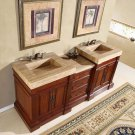 "83"" Stanton - Double Bathroom Stone Sink Vanity Cabinet w/ Soft Close Hardware 0219"