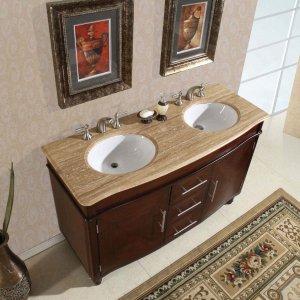 """55"""" Cambridge - Travertine Top Bathroom Double Sink Vanity Dark Chestnut Cabinet 0222"""