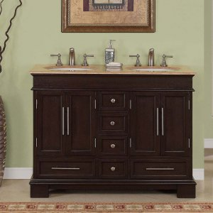 "48"" Sally W - Compact Travertine Bathroom Double Sink Vanity Mini Bath Cabinet 0224"