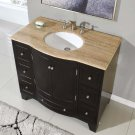 "40"" Naomi - Travertine Single Bathroom Vanity White Sink Espresso Finish Cabinet 0703"