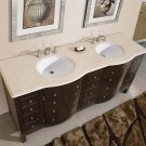 "72"" Prima - Marble Top White Sink Bathroom Double Vanity Dark Walnut Cabinet 0704"