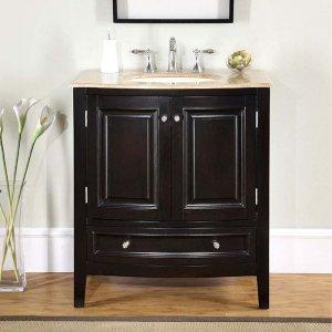 "32"" Melissa - Single Sink Travertine Top Bathroom Vanity Cabinet Espresso Finish 0709"