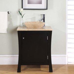 "26"" Megan - Espresso Single Bathroom Travertine Stone Vessel Sink Top Vanity 0711"