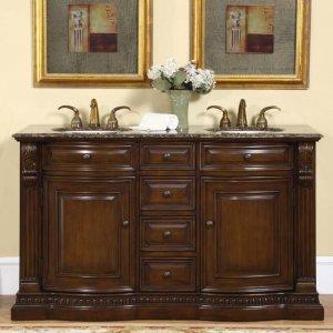 "60"" Samantha - Transitional Bathroom Double Sink Vanity Cabinet Granite  Top 0712"