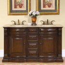 "60"" Samantha - Bathroom Double Vanity Dual Ivory Sink Cabinet (American Walnut) 0712"