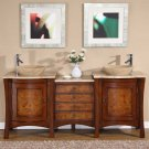 "72"" Tia - Modern Travertine Stone Top Double Bathroom Vessel Sink Vanity Cabinet 0714"