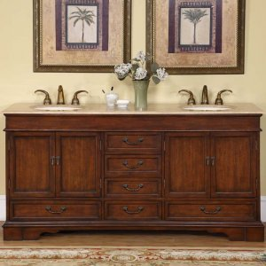 "72"" Revanna - Travertine Top Double Sink Bathroom Vanity Cabinet (Red Chestnut) 0715"