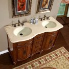"55"" Camellia - Marble Top Double Sink Bathroom Vanity (American Walnut Finish) 0719"