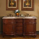 "60"" Esther - Double Sink Bathroom Vanity Cabinet Travertine Stone Countertop 0722"