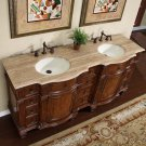 "72"" Edina - Bathroom Cabinet Double Vanity Ivory Ceramic Sink Travertine Top 0722"