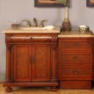 "53"" Emily - Single Sink Bathroom Vanity w/ LED Lighted Cabinet & Travertine Top 0723"