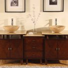 "73"" Lydia - Modern Double Travertine Stone Vessel Sink Bathroom Vanity Cabinet 0808"