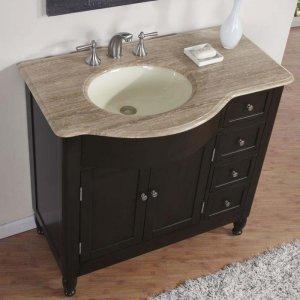 38 Kelston Travertine Top Bathroom Sink Vanity Off Center Cabinet L