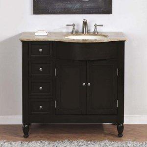 "38"" Kelston - Bathroom Vanity Travertine Top Right Sink Cabinet (Dark Walnut) 0902"