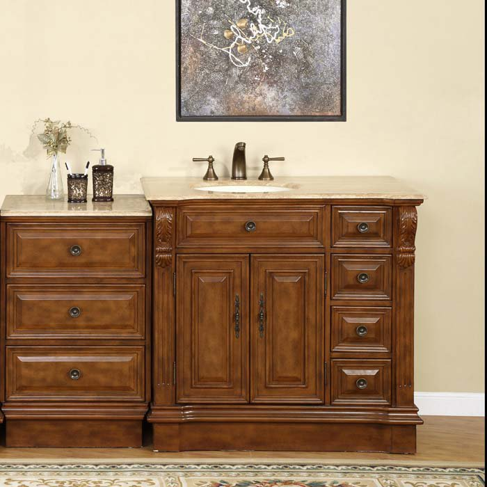 Left Side Sink Vanity : ... Cherry Finish Bathroom Furniture Off Center Left Side Sink Vanity 0904