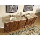 "95"" Empress - Travertine Top Cherry Finish Bathroom Double Sink Vanity Cabinet 0904"