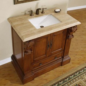 "38.75"" Bravia - Travertine Top Bathroom Sink Vanity Soft Close Hardware Cabinet 0907"