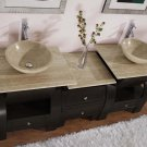 "77"" Kallista - Travertine Bathroom Double Vessel Sink Vanity Dark Walnut Cabinet 0908"