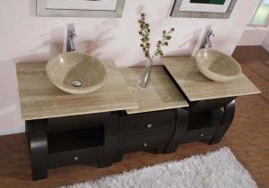 "77"" Kallista - Travertine Bathroom Double Vessel Sink Vanity Dark Walnut Cabinet 0908"