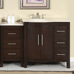 "53.5"" Kimberly WL - Marble Bathroom Vanity Dark Walnut Finish (Left Sink) 0912"
