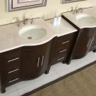 "89"" Kimberly W - Marble Stone Double Bathroom Vanity Sink Dark Walnut Cabinet 0912"