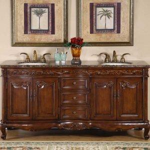 "72"" Grace - Bathroom Double Sink Vanity Cabinet Baltic Brown Granite Stone Top 8034"
