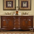 "72"" Grace - English Chestnut Finish Travertine Top Cabinet Bathroom Sink Vanity 8034"