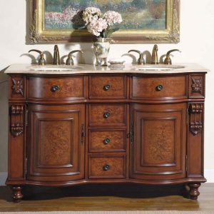 "55"" Juliana - Double Sink Bathroom Vanity Cabinet Travertine Stone Counter Top 0192"
