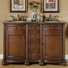"52"" Adela - English Chestnut Finish Cabinet Bathroom Granite Double Sink Vanity 0180"