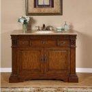 "48"" Ava - Cherry Finish Travertine Stone Countertop Bathroom Sink Vanity Cabinet 0181"