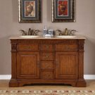 "55"" Kayla - Travertine Top Double Bathroom Sink Vanity Cabinet (Cherry Finish) 0181"