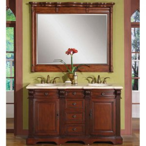"58"" Olivia W - Marble Stone Top Bathroom Furniture Double Sink Vanity Cabinet 0197"