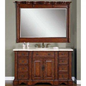 "58.5"" Sabina - Crema Marfil Marble Stone Top Bathroom Single Sink Vanity Cabinet 0199"
