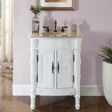 "26"" Elizabeth - Travertine Single Bathroom Vanity Sink Cabinet White Oak Finish 0134"