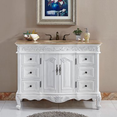 "48"" Ella - Bathroom Travertine Top Ivory Sink Vanity White Oak Finish Cabinet 0152"